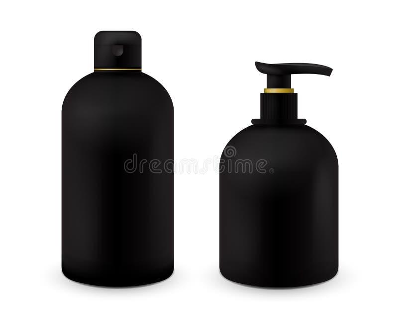 A zombaria cosmética realística da garrafa configurou o bloco no fundo branco Molde cosmético do tipo Bloco do champô e do sabão ilustração royalty free