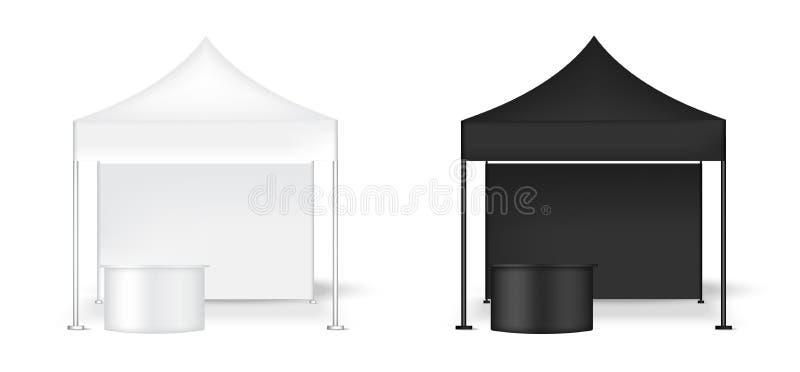 zombaria 3D acima da cabine realística do POP da parede da exposição da barraca com a tabela para a ilustração do fundo da exposi ilustração royalty free