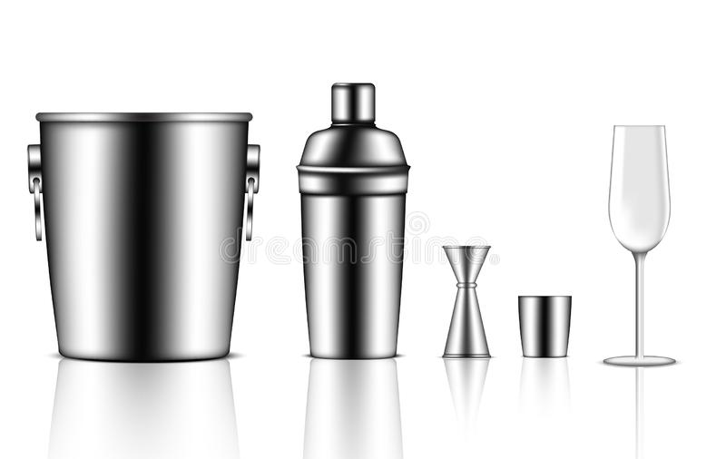 a zombaria 3D acima de Shaker Bottle, da cubeta de gelo, do Jigger e do vidro de vinho metálicos realísticos para o evento do par ilustração do vetor