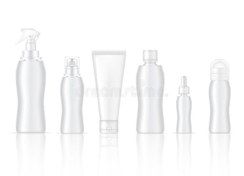 Zombaria da garrafa acima do sabão realístico do pulverizador, do desodorizante, da espuma do produto de Skincare, do soro do con ilustração royalty free