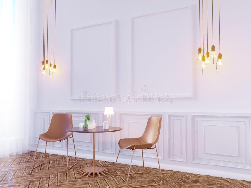 Zombaria da parede interior da sala de visitas acima no fundo branco, 3D rendição, ilustração 3D ilustração royalty free