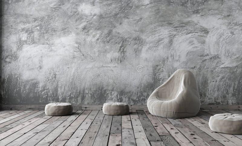 Zombaria da sala do sótão acima no estilo do minimalismo com emplastro cinzento do cimento ilustração royalty free