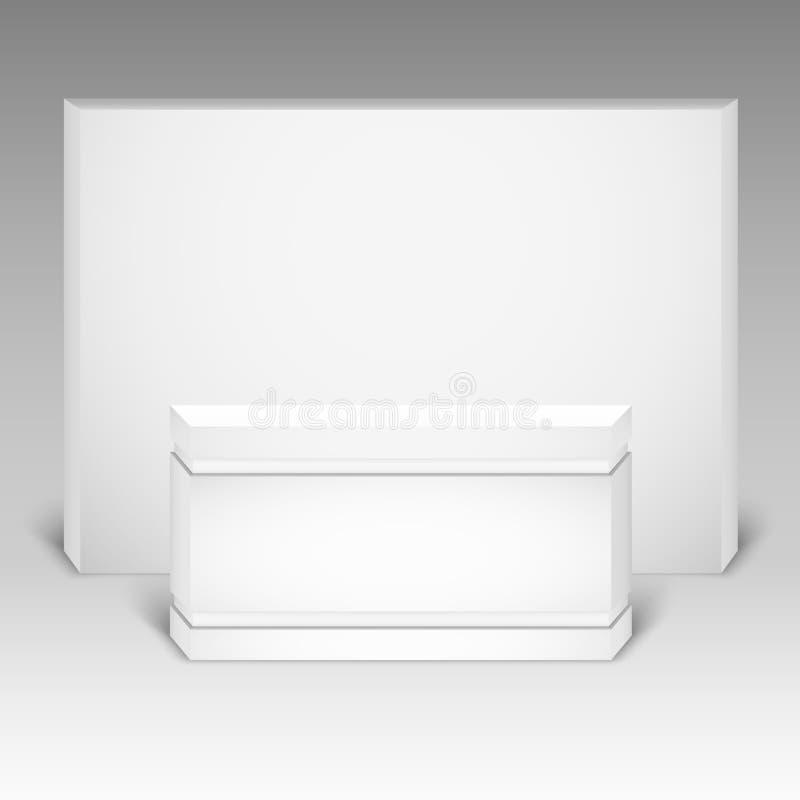 Zombaria de comércio do suporte da exposição isolada acima no fundo branco Projeto criativo branco do suporte da exposição ilustração royalty free