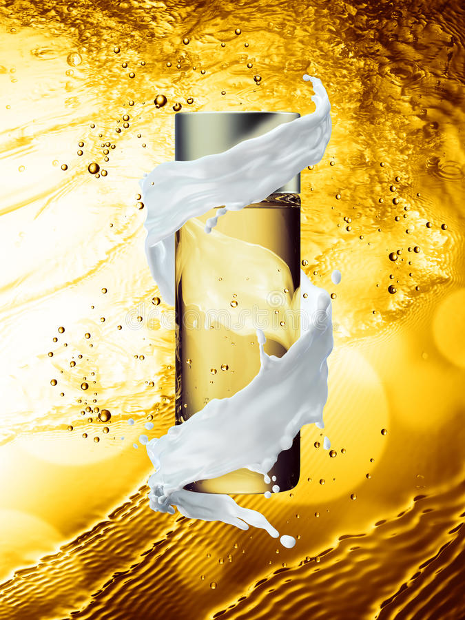 Zombaria de creme branca da garrafa acima da cor dourada do respingo da água ilustração do vetor