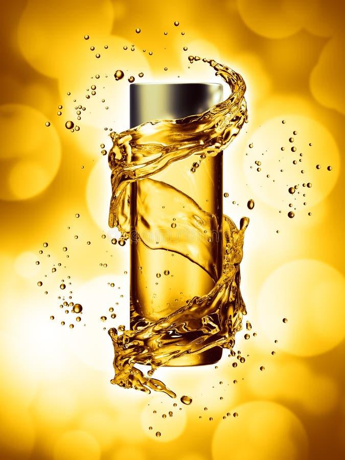 Zombaria de creme da garrafa acima no respingo da água da cor amarela ilustração stock