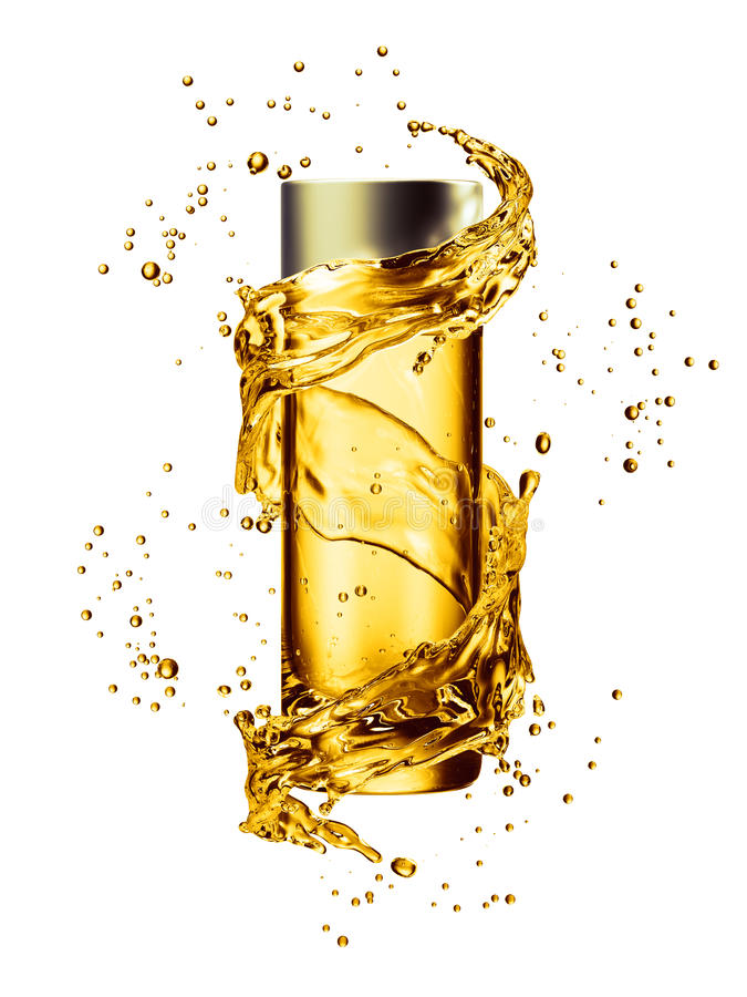 Zombaria de creme da garrafa acima no respingo da água da cor dourada ilustração royalty free