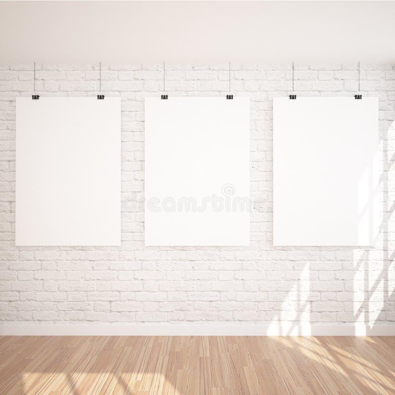 Zombaria de suspensão do cartaz 3 ACIMA no espaço interior da exposição contemporânea com lâmpada de assoalho fotos de stock