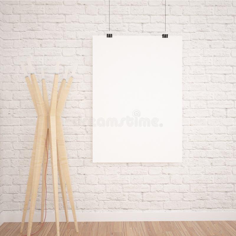 Zombaria de suspensão do cartaz ACIMA no espaço interior da exposição contemporânea com lâmpada de assoalho imagens de stock
