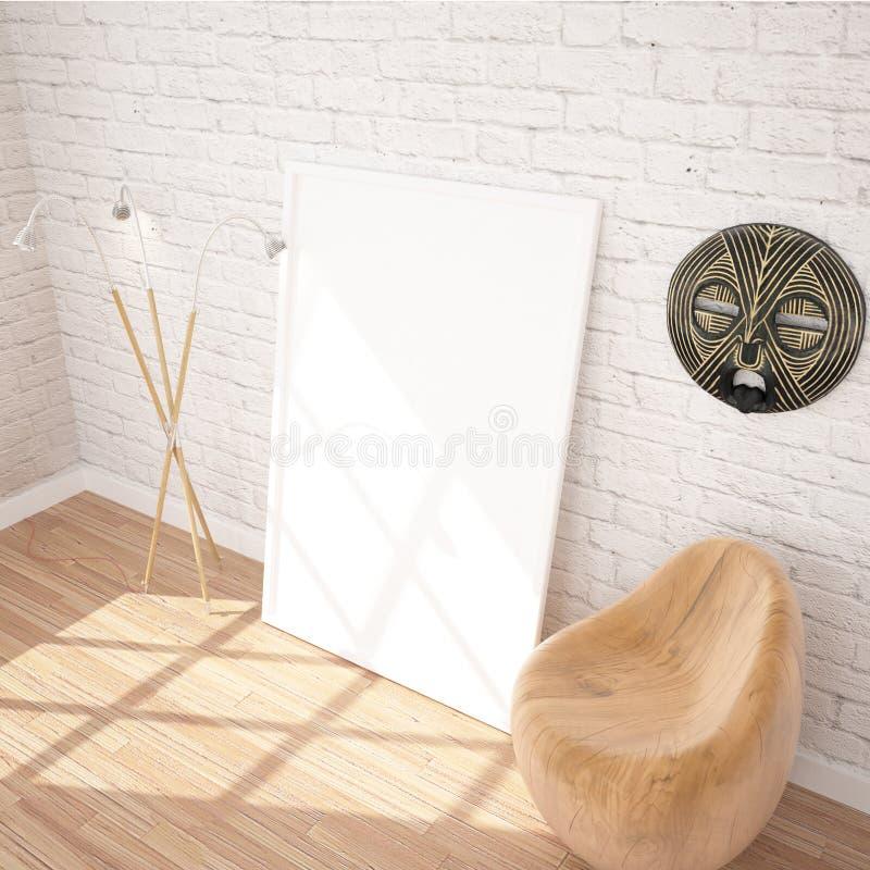 Zombaria de suspensão do cartaz ACIMA no espaço interior da exposição contemporânea com lâmpada de assoalho, a cadeira de madeira ilustração stock
