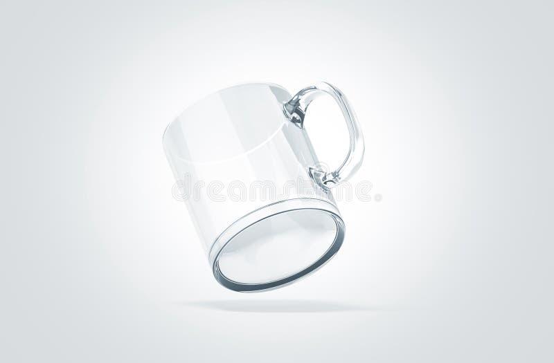 Zombaria de vidro transparente vazia isolada acima, nenhuma opinião da caneca da gravidade, ilustração royalty free