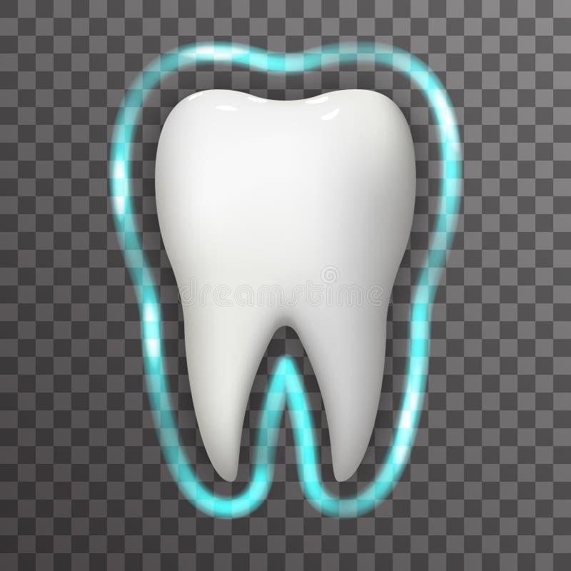 Zombaria dental do fundo de Transperent do molde do ícone do projeto do cartaz do Stomatology 3d realístico do campo do fulgor da ilustração stock
