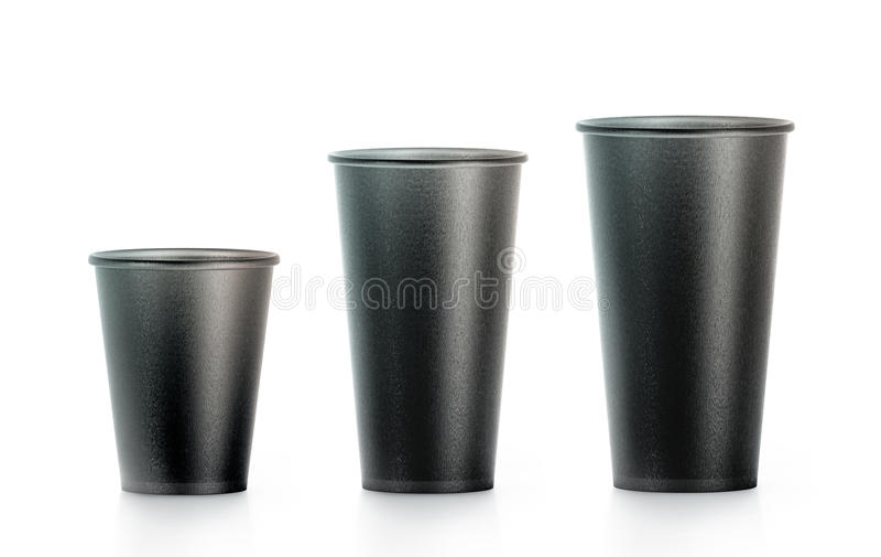 A zombaria descartável preta vazia do copo de papel levanta isplated, grande imagens de stock