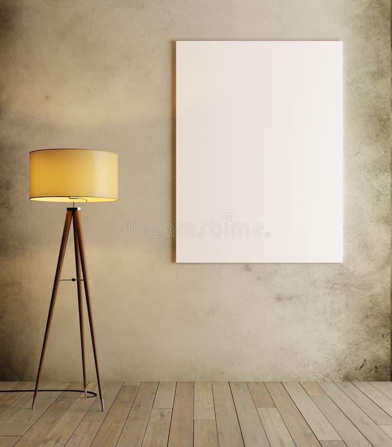Zombaria do branco acima no interior na moda do moderno com lâmpada de assoalho ilustração do vetor