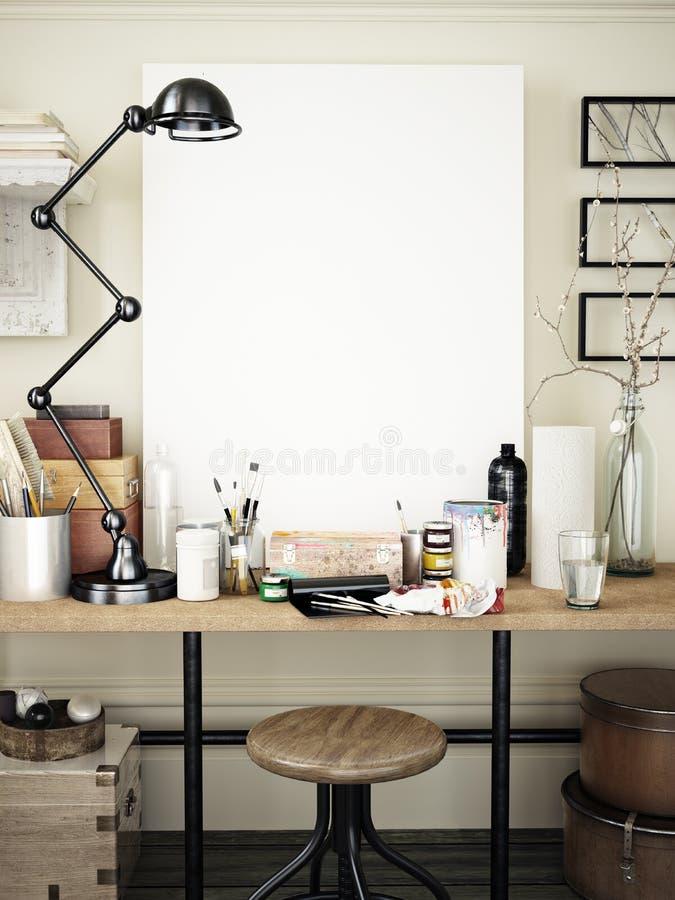 Zombaria do espaço de trabalho do artista acima fotos de stock