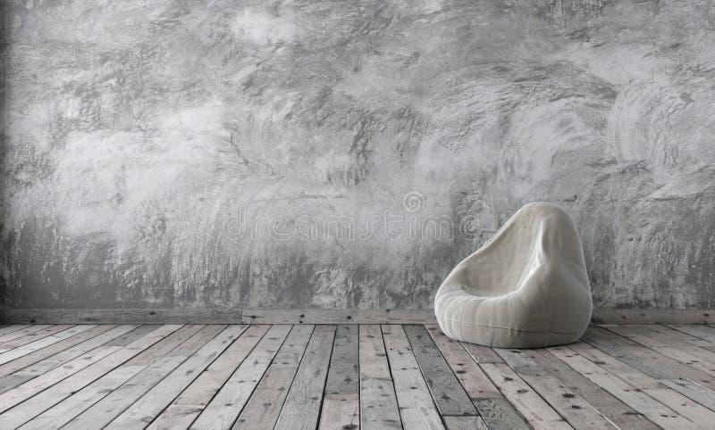 Zombaria do estúdio do sótão acima no estilo do minimalismo com emplastro cinzento do cimento ilustração royalty free
