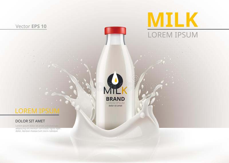 Zombaria do pacote da garrafa de leite acima do vetor realístico Fundo líquido do respingo ilustração royalty free