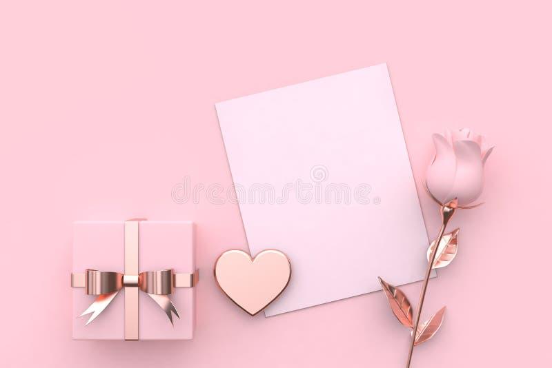 a zombaria do papel-cartão da placa acima do presente do coração e aumentou o conceito cor-de-rosa 3d do Valentim do fundo para r ilustração do vetor