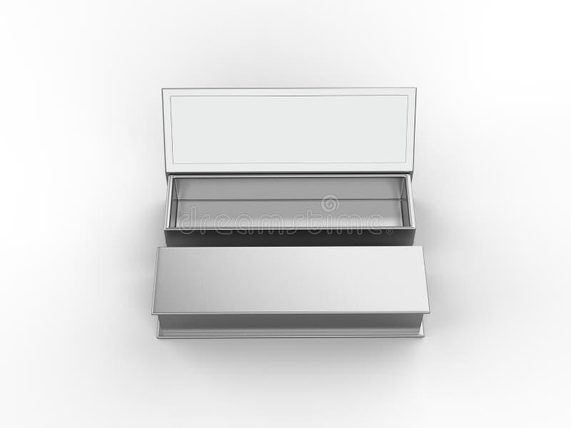 Zombaria dura vazia branca da caixa de cartão acima do molde, ilustração 3d ilustração stock