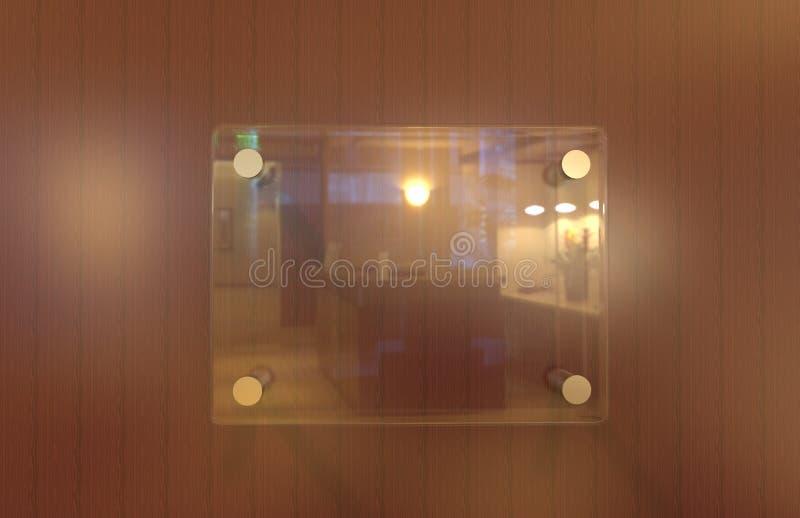 Zombaria incorporada da placa do Signage do escritório interior de vidro transparente vazio acima do molde, ilustração 3D ilustração royalty free
