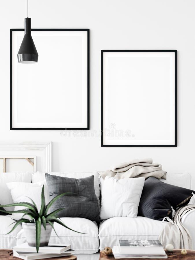 Zombaria interior do quadro acima Arte da parede Interior escandinavo 3D rendi??o, ilustra??o 3D ilustração royalty free