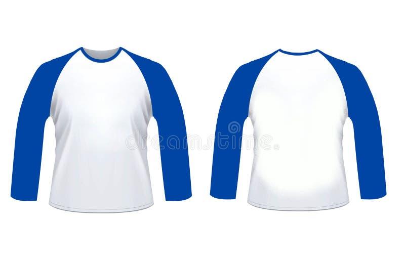 Zombaria longa da camisa do sleve do raglan branco azul vazio acima do templat ilustração stock
