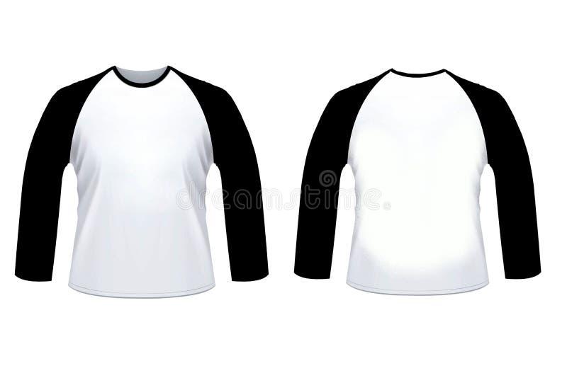 Zombaria longa da camisa do sleve do raglan branco preto vazio acima do templat ilustração stock