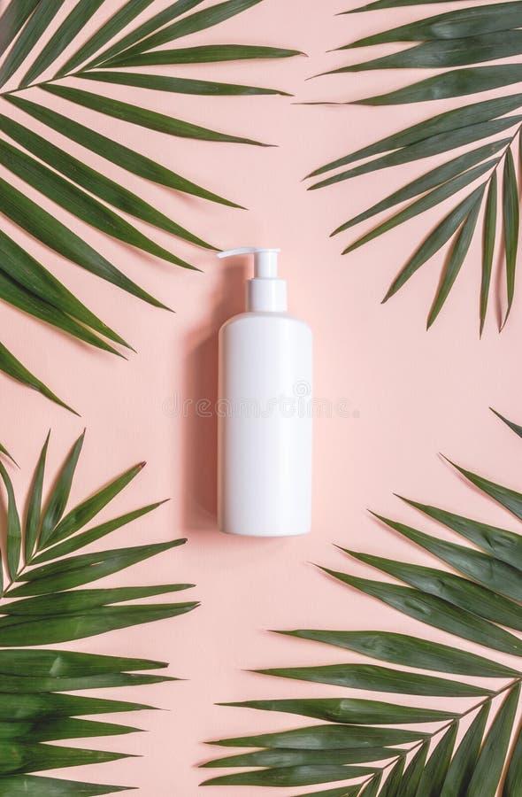 Zombaria plástica de empacotamento cosmética minimalistic criativa acima com folhas de palmeira Modelo para a marcagem com ferro  fotografia de stock