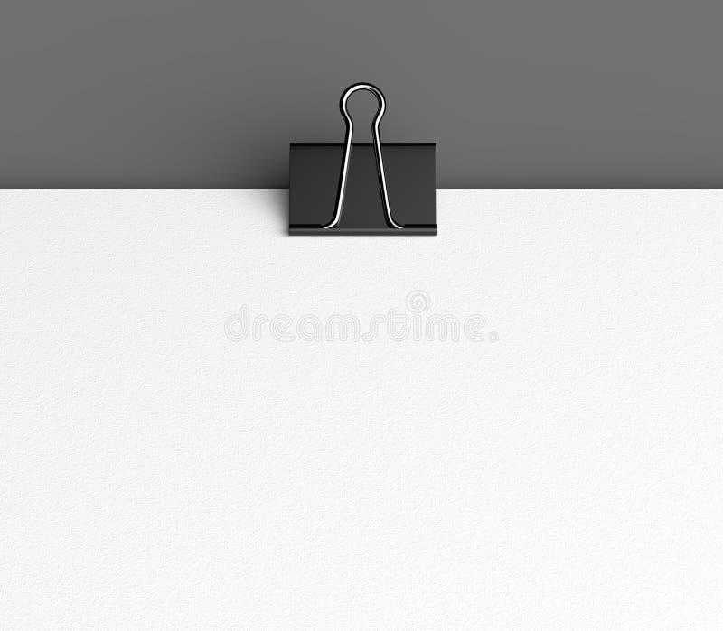 Zombaria preta do clipe de papel e do papel acima no fundo cinzento illust 3d fotos de stock