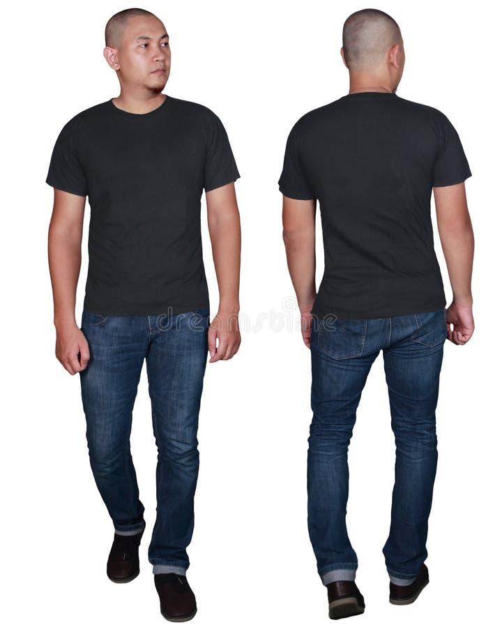 Zombaria preta do t-shirt acima, parte dianteira e vista traseira, isoladas Modelo modelo masculino da camisa do preto da planíci fotografia de stock