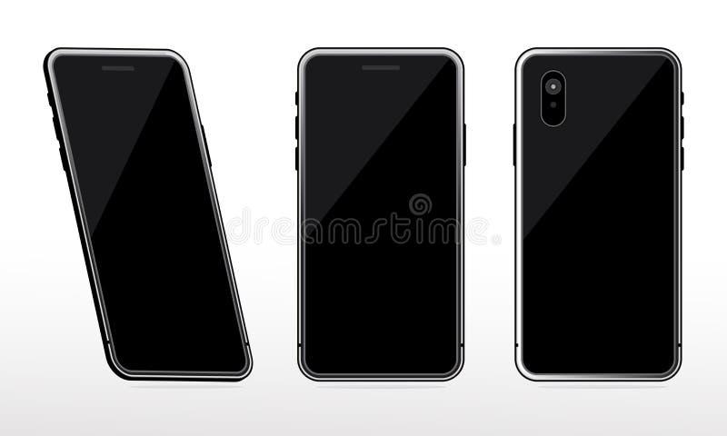 A zombaria preta do telefone acima do grupo no fundo branco, zombaria realística do smartphone da perspectiva configurou isolado ilustração do vetor