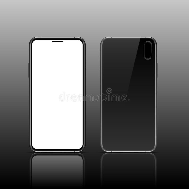 A zombaria realística acima do telefone esperto preto com tela branca, moden o projeto de conceito ilustração royalty free