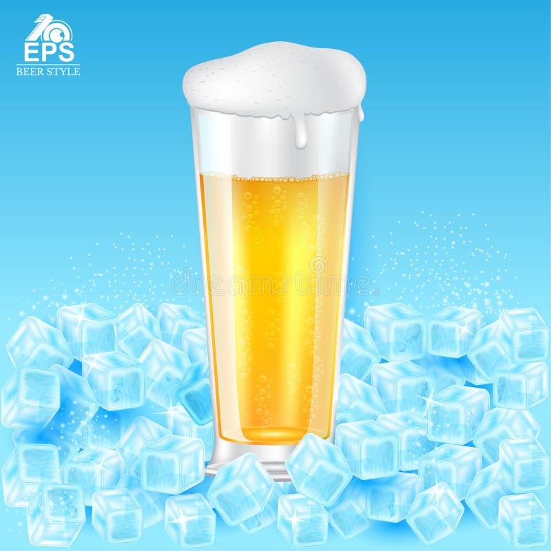 Zombaria realística acima do vidro da cerveja com espuma entre cubos de gelo no azul ilustração do vetor
