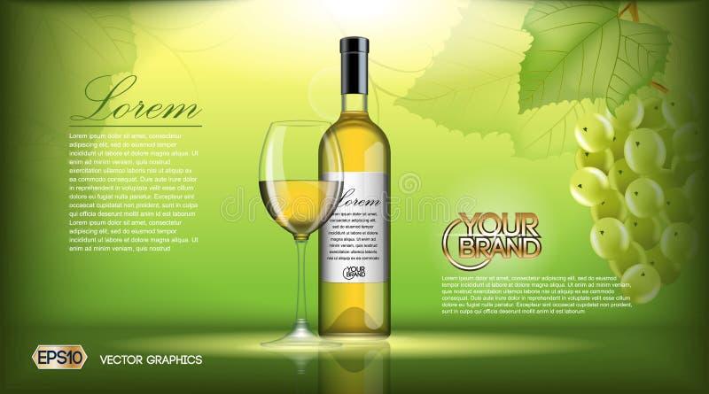 Zombaria realística da garrafa de vinho do vetor acima Uvas brancas da videira Fundo natural verde com lugar para sua marcagem co ilustração do vetor
