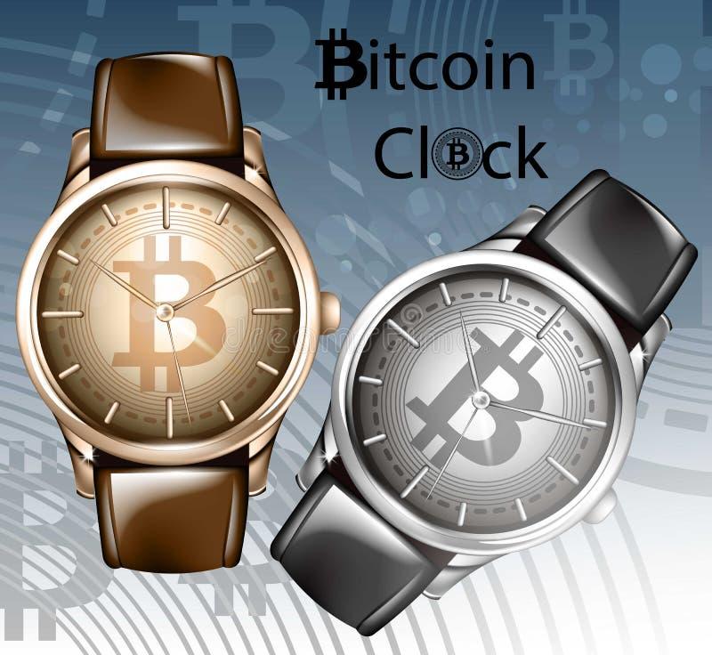 Zombaria realística da ilustração do vetor do relógio acima Moldes do relógio de pulso de Bitcoin ilustração royalty free