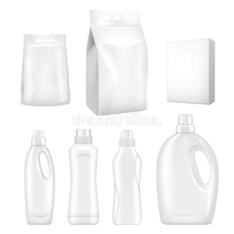 Zombaria realística de empacotamento detergente do vetor configurada ilustração stock