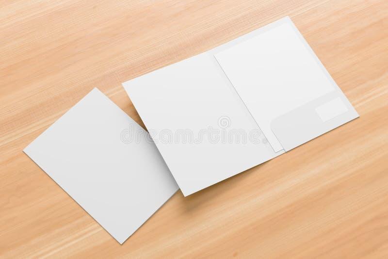 Zombaria reforçada branca do dobrador do bolso do tamanho A4 da placa única isolada acima no fundo de madeira ilustra??o 3D ilustração royalty free