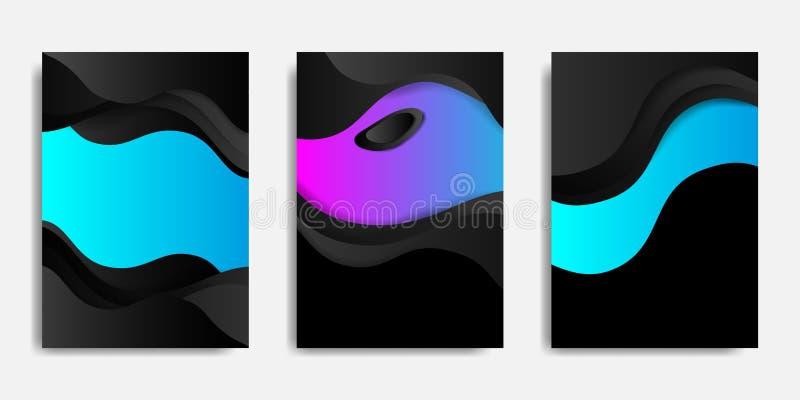 Zombaria traseira e dianteira do documento acima e para cobrir o molde, fundo futurista com composição fluida e dinâmica das form ilustração do vetor