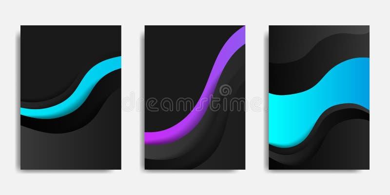 Zombaria traseira e dianteira do documento acima e para cobrir o molde, fundo futurista com composição fluida e dinâmica das form ilustração stock