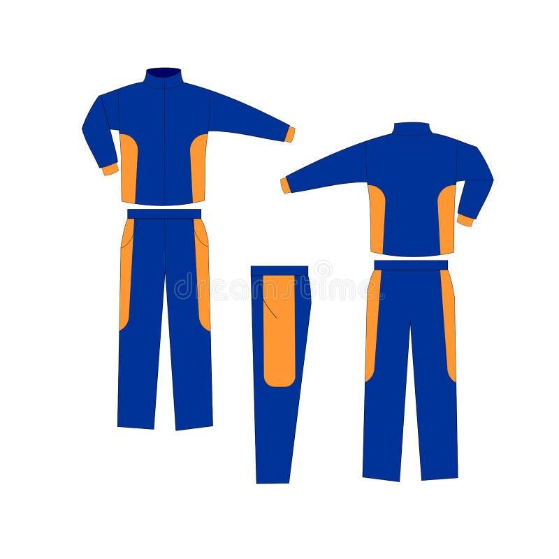 Zombaria uniforme do projeto do time do colégio azul e alaranjado acima ilustração do vetor