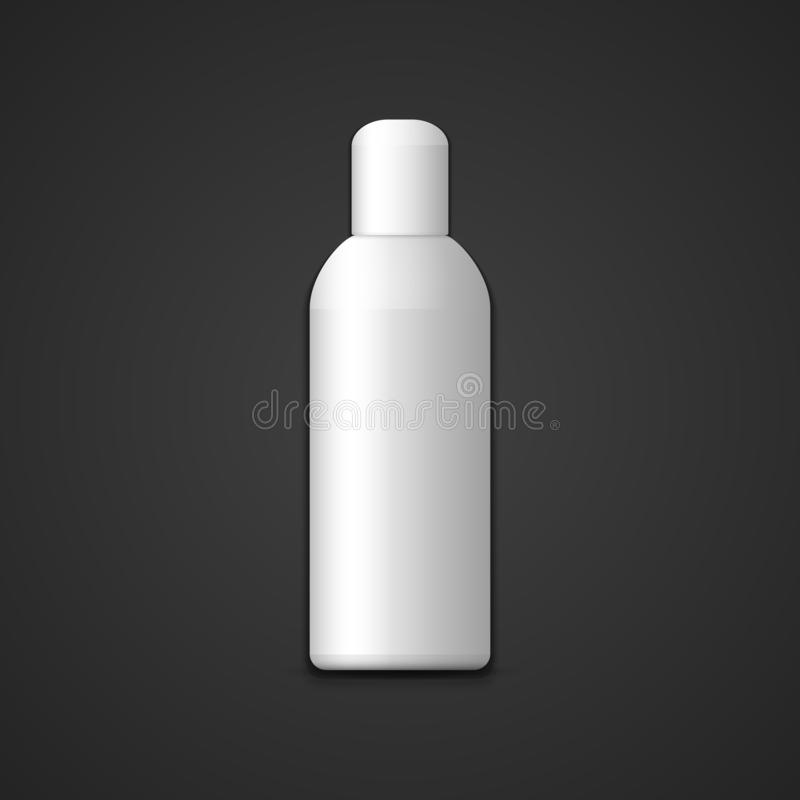 Zombaria vazia branca do vetor acima do pacote vertical cosmético plástico cilíndrico da garrafa com ilustração realística do tam ilustração stock