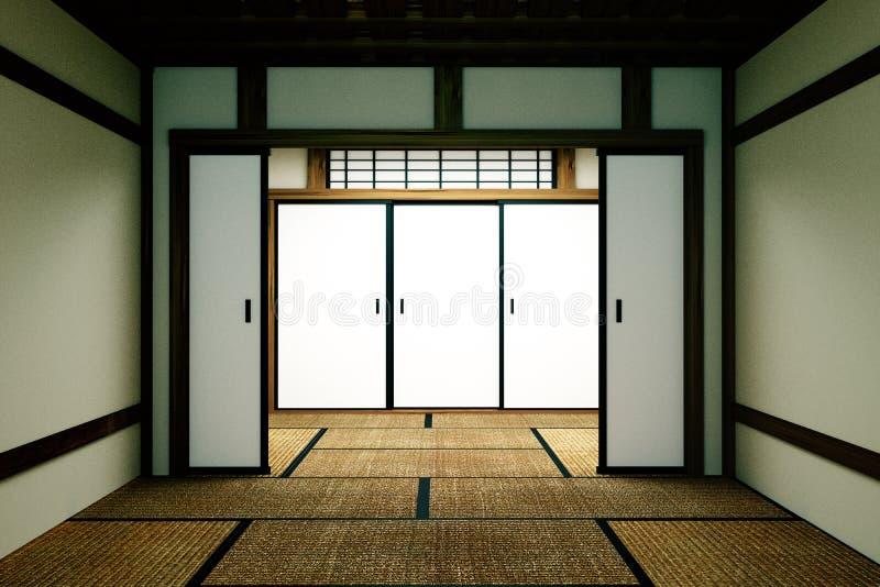 Zombaria vazia da sala acima, esteira de tatami vazia japonesa da sala que projeta o mais bonito rendi??o 3d ilustração stock