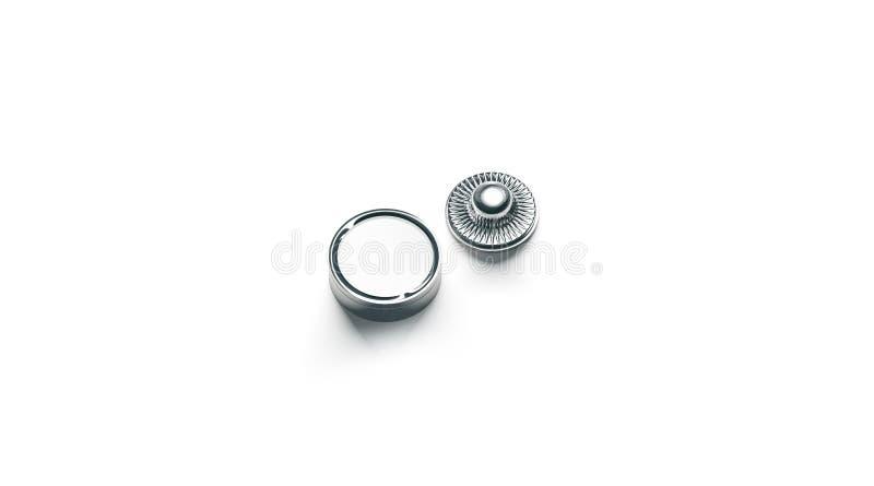 Zombaria vazia do botão da pressão do metal branco isolada acima ilustração do vetor
