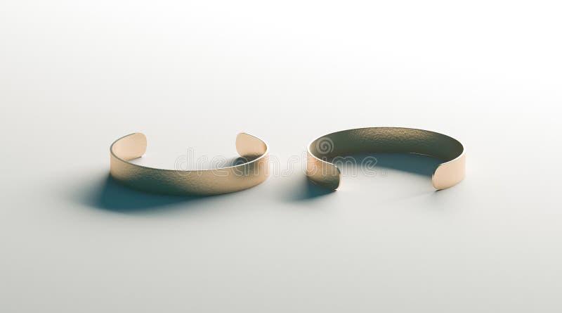 Zombaria vazia do bracelete do punho do ouro opinião acima, da parte dianteira e de verso foto de stock royalty free