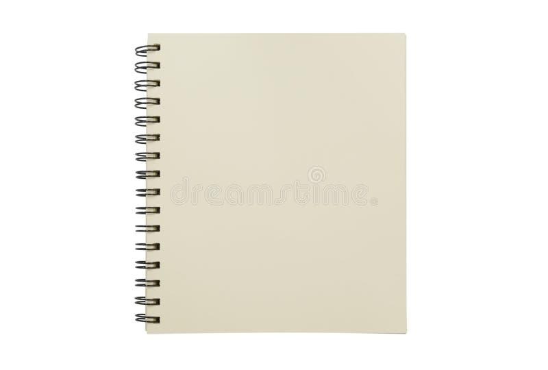 Zombaria vazia do caderno isolada acima no fundo branco Pa do grampeamento imagens de stock
