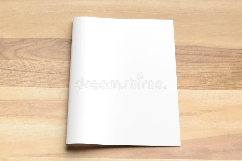 Zombaria vazia do folheto do tamanho da dobra A4 do Bi acima no fundo de madeira 3d fotos de stock royalty free