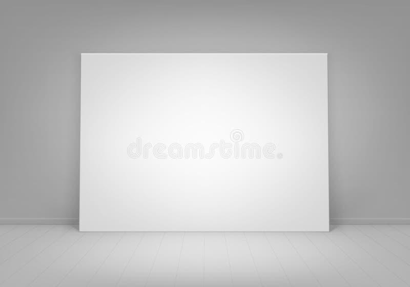 Zombaria vazia vazia do branco do vetor acima da imagem do cartaz que está no assoalho com parede Front View ilustração do vetor