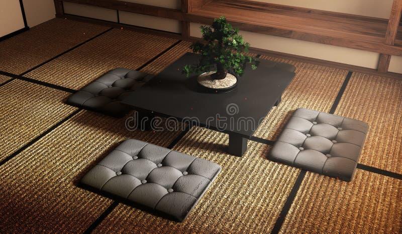 Zombe acima, árvore dos bonsais na baixa tabela preta e coxins na esteira de tatami que projeta o mais bonito rendi??o 3d ilustração royalty free