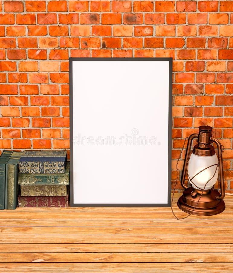 Zombe acima com livros velhos e lâmpada de querosene ilustração royalty free