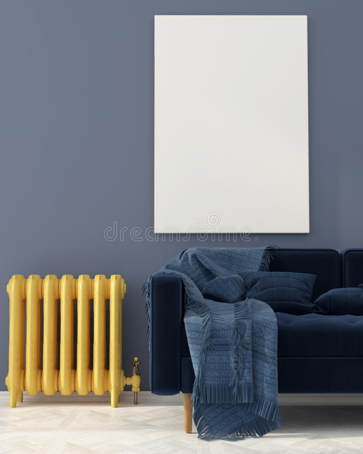 Zombe acima com sofá azul e o radiador amarelo fotografia de stock royalty free