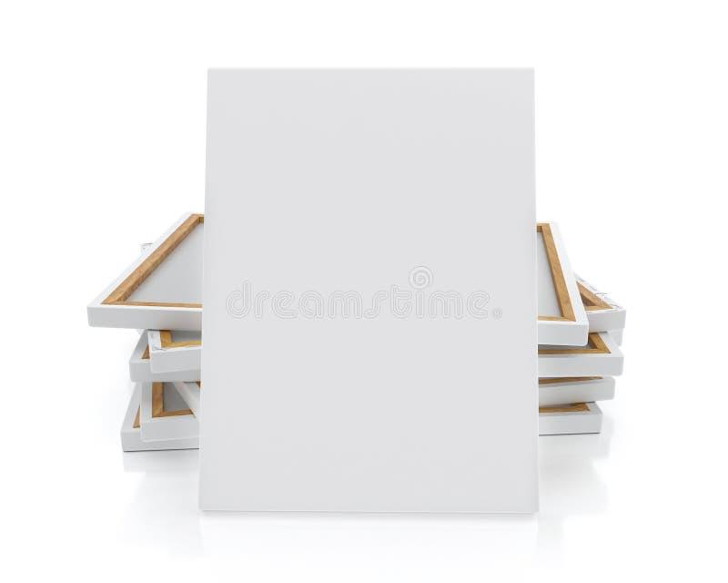 Zombe acima da lona ou do cartaz vazio com a pilha da lona no assoalho e na parede, fundo ilustração royalty free